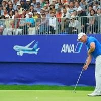 プレーオフ、長い長いバーディパットは決められなかった。 2019年 ANAオープンゴルフトーナメント 最終日 ショーン・ノリス