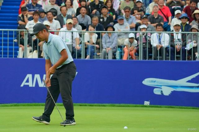 2019年 ANAオープンゴルフトーナメント  最終日 時松隆光 正規の最終18番でバーディパットを外す時松隆光