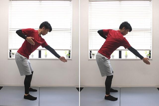 片方の腕を肩甲骨から引く(ロー)と、同時に肩甲骨を前に出す(プレス)を繰り返します