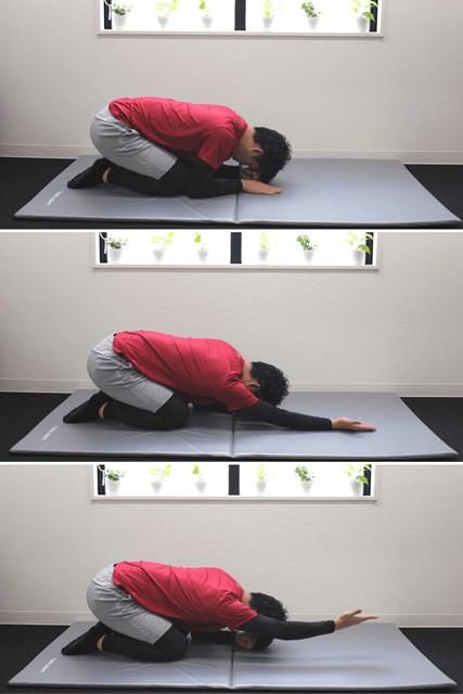 持ち上げるのは腕だけで、身体や頭は持ち上げないでください