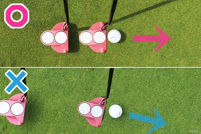 朝の練習グリーンで下りパットを練習するべき理由 野田すみれ テークバックを大きくとるとフェースが開きやすい(画像下×)