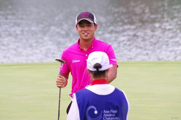 9番ではロングパットを決めて笑顔を見せた桂川有人 2019年 アジアアマパシフィック選手権 最終日 桂川有人