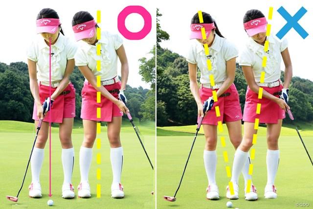 ショートパットはボールのディンプルを見よう 野田すみれ 「ボールを漠然と見ていると、左右に軸が動き、フェースが開いたり閉じたりする」と野田