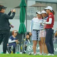 和気あいあいです。 2019年 日本女子オープンゴルフ選手権 事前 吉本ひかる 田中瑞希 新垣比菜