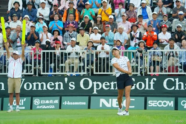 2019年 日本女子オープンゴルフ選手権 初日 渋野日向子 渋野日向子はたくさんの声援を浴びてスタートした