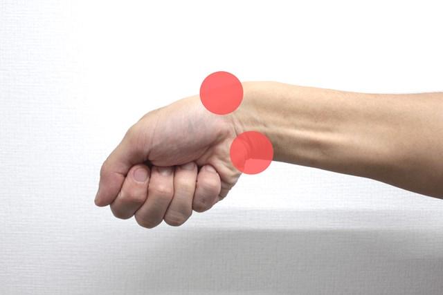 手首を小指側に曲げる動き