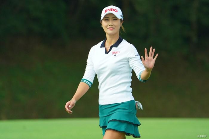 ハヌル様のお手振りを頂き、疲れが吹き飛びます。 2019年 日本女子オープンゴルフ選手権 初日 キム・ハヌル