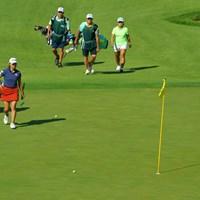 最注目組のラウンド。いずれも上位で予選を通過した 2019年 日本女子オープンゴルフ選手権 2日目 渋野日向子 畑岡奈紗 ユ・ソヨン