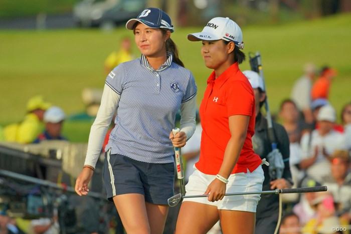 戦い終えた直後の2人。良い表情じゃないですか。 2019年 日本女子オープンゴルフ選手権 最終日 大里桃子 畑岡奈紗