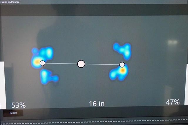 体重配分の変化をリアルタイムで見ながら左右5:5に調整