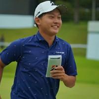ナイスラウンドに、ホールアウト後は笑顔。 2019年 ブリヂストンオープンゴルフトーナメント 初日 宇喜多飛翔