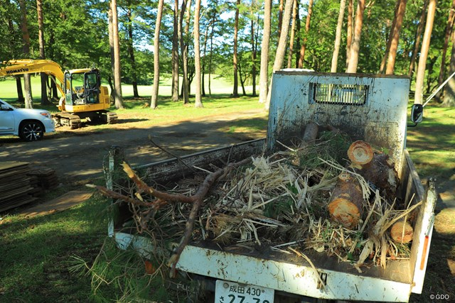 2019年 ブリヂストンオープンゴルフトーナメント 最終日 復旧作業 折れた木々を回収するだけでも大変。