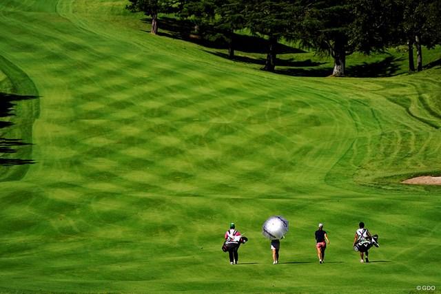 2019年 スタンレーレディスゴルフトーナメント 最終日 11H 数多の轍がコース整備が大変さを物語る