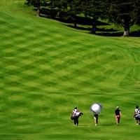 数多の轍がコース整備が大変さを物語る 2019年 スタンレーレディスゴルフトーナメント 最終日 11H