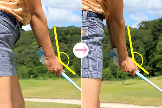 画像左がアドレス、右がインパクト。なるべく同じ角度を保つ