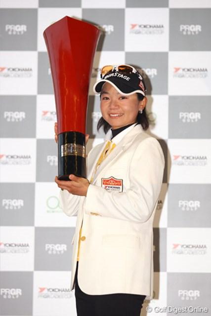 2010年 ヨコハマタイヤゴルフトーナメント PRGRレディスカップ 事前 上原彩子 昨年は最終日が中止になり予選2日間首位を守った上原彩子が優勝を果たした