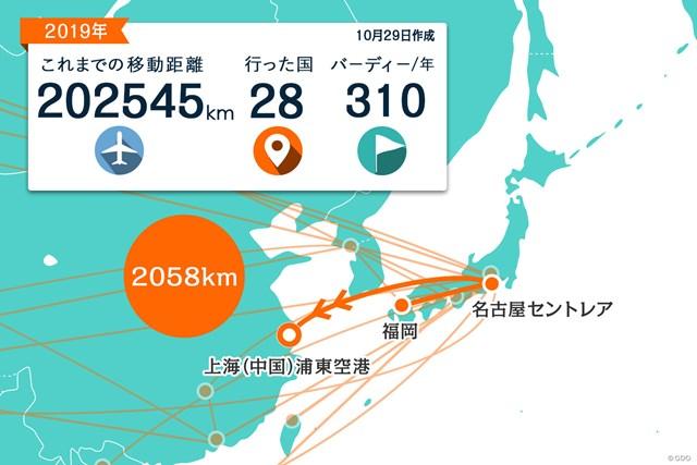 2020年 WGC HSBCチャンピオンズ 事前 川村昌弘マップ 上海まではセントレアからの直行便