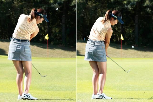 高い球はスライス回転、低い球はフック回転をかけるイメージ