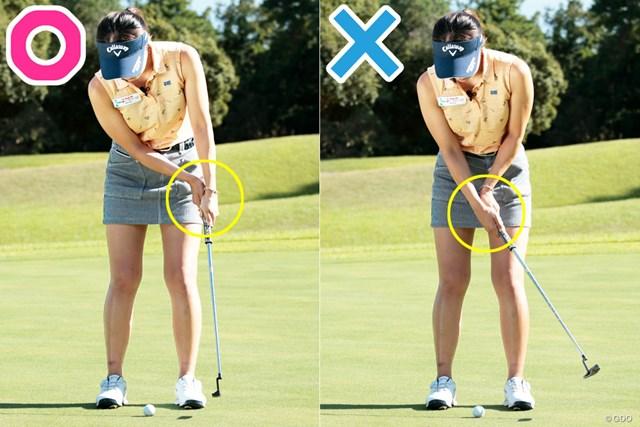 ※順手(画像右)では、右手首の角度が変わってしまっていた…