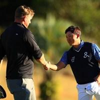 賞金ランク2位のノリス(左)と予選ラウンドをプレーした今平周吾 2019年 カシオワールドオープンゴルフトーナメント 2日目 ショーン・ノリス 今平周吾