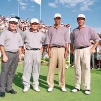 ロイヤルメルボルン開催の1998年大会で丸山茂樹はMVPに輝いた(Stan Badz/Getty Images) 1998年 プレジデンツカップ クレイグ・パリー、丸山茂樹、タイガー・ウッズ、フレッド・カプルス