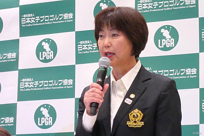 規定変更や改訂を発表した小林浩美LPGA会長 2019年 LPGA日程発表会見 小林浩美会長