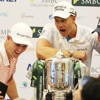 リオ五輪メダリストの3人はローズのスマホでセルフィ―に収まった 2020年 SMBCシンガポールオープン 事前 ジャスティン・ローズ ヘンリック・ステンソン マット・クーチャー