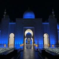 アブダビの名所、シェイク・ザイード・モスク。幻想的です 2020年 アブダビHSBCゴルフ選手権 事前 シェイク・ザイード・モスク