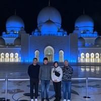 アブダビに来ました! シェイク・ザイード・モスクでキャディのメグさんたちと 2020年 アブダビHSBCゴルフ選手権 事前 川村昌弘