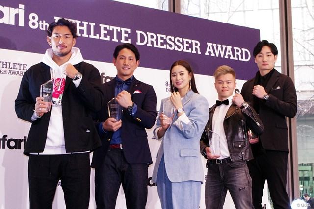 受賞式に出席した5人(左から)山中亮平、小林誠司、柏原明日架、那須川天心、田中大貴の各選手