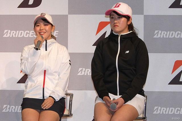 抱負を語る吉田優利(左)。稲見萌寧は東京五輪出場を諦めていない