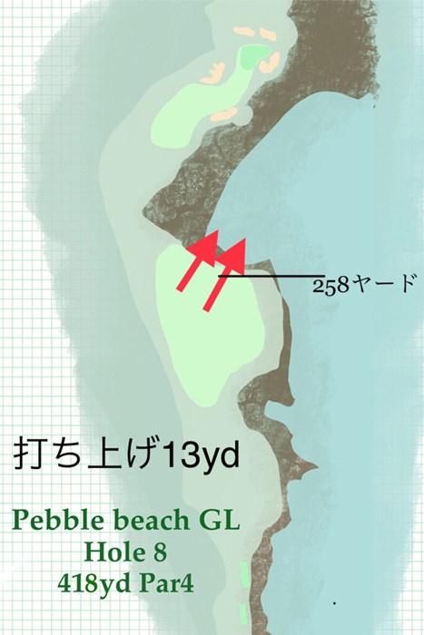 打ち上げとなるフェアウェイは途中から海に向けて下っている 2020年 AT&Tペブルビーチプロアマ 事前 ペブルビーチGL8番ホール