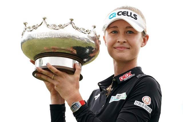 2019年 ISPS HANDA オーストラリア女子オープン 最終日 ネリー・コルダ 前年大会はネリー・コルダが姉のジェシカと同一大会姉妹優勝を果たした(Daniel Kalisz/Getty Images)