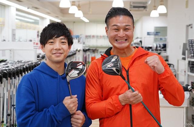 ゴルフクラブを購入するティモンディの前田(左)と高岸(右)