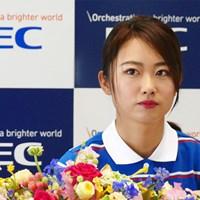 NECとの所属契約会見に臨んだ安田祐香 2020年 安田祐香