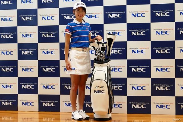 2020年 安田祐香 NECと所属契約をかわした安田祐香。キャディバッグには同社のロゴが入る