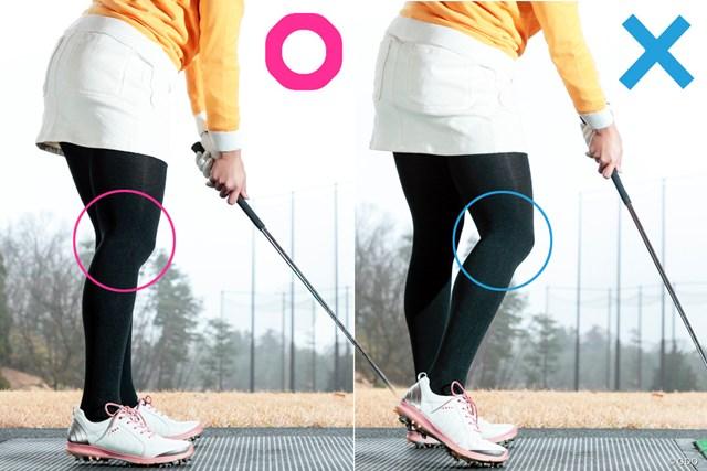 ひざの違いで右足かかとの浮き方も変わってくる