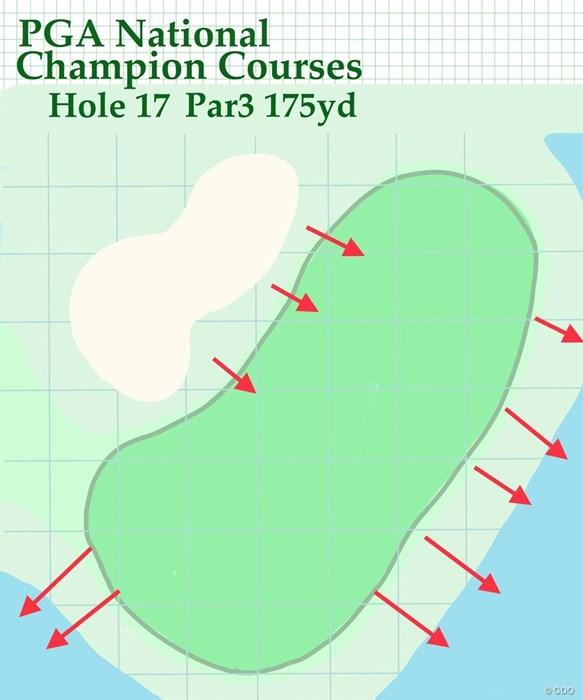 下り傾斜になる左のバンカーから寄せるのは至難の業 2020年 ザ・ホンダクラシック 事前 PGAナショナル・チャンピオンコース 17番グリーン
