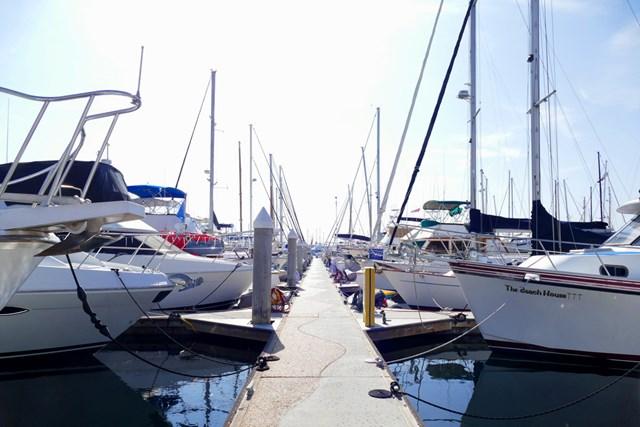 マリーナには優雅な船が並ぶ。