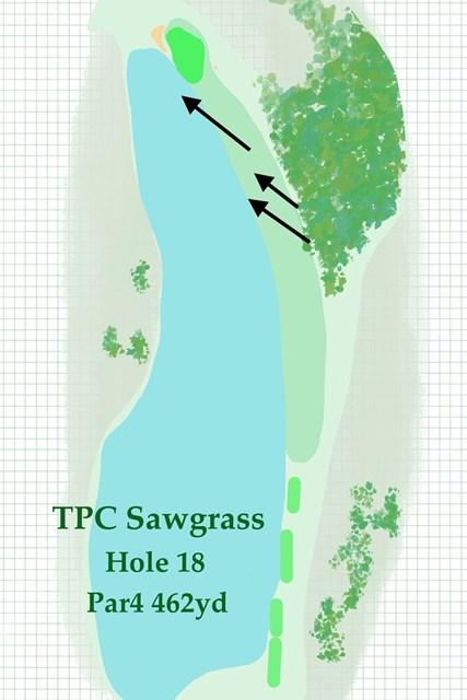 2020年 ザ・プレーヤーズ選手権 事前 TPCソーグラス18番 右前方の林まで突き抜けてしまうと、トラブルは必至