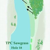 右前方の林まで突き抜けてしまうと、トラブルは必至 2020年 ザ・プレーヤーズ選手権 事前 TPCソーグラス18番