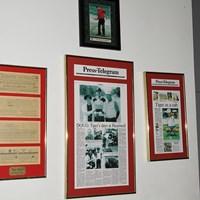 ハートウェルGCに残るウッズのスコアカードと古い新聞記事 ハートウェルGC