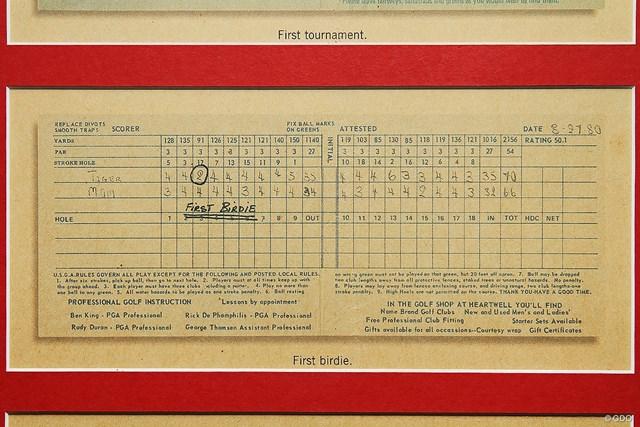 タイガー・ウッズの4歳のときのスコアカード ウッズが4歳のときにプレーしたときのスコアカード