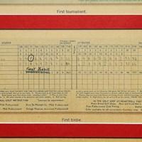 ウッズが4歳のときにプレーしたときのスコアカード タイガー・ウッズの4歳のときのスコアカード