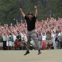 メジャー初優勝にミケルソンはこのジャンプ( Augusta National/Getty Images) 2004年 マスターズ(延期) 事前 フィル・ミケルソン