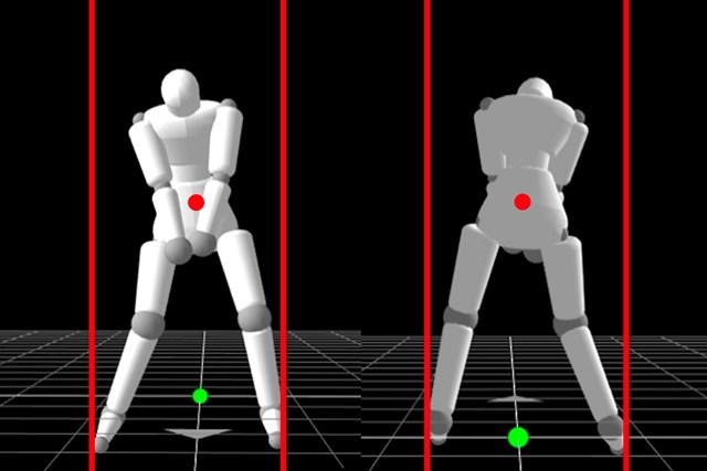 松山英樹のスイングを3Dアバターで解説 アドレスは、やや左足寄りの重心で構えているように見える