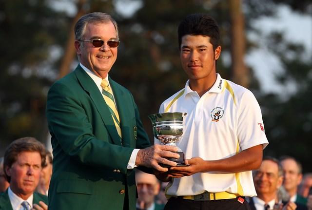 2020年 マスターズ(延期) 事前 松山英樹 2011年にローアマに輝いて表彰式に出席した松山英樹。グリーンジャケットを羽織る日が見たい(Ross Kinnaird/Getty Images for Golf Week)