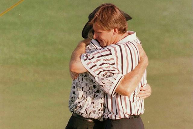1996年 マスターズ ニック・ファルド 1996年、ニック・ファルドは最終日にグレッグ・ノーマンを逆転して大会3勝目を挙げた(Stephen Munday/getty images)