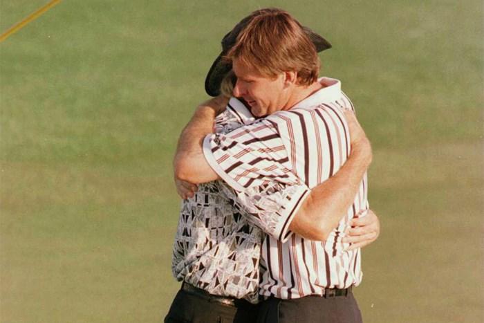 1996年、ニック・ファルドは最終日にグレッグ・ノーマンを逆転して大会3勝目を挙げた(Stephen Munday/getty images) 1996年 マスターズ ニック・ファルド