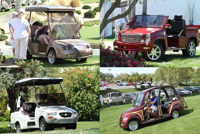 ベントレー(左上)、キャデラック(右上)、クライスラー(下段右左)を模したカート。左下はボブ・ホープ・クラシックとのコラボレーション ゴルフ場の豪華なカート